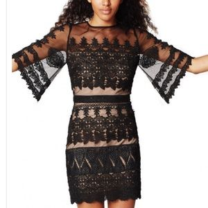 Nicole Miller Black Trim Lace Dress Size 6 NWT